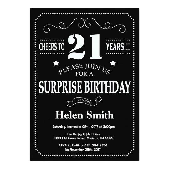 Surprise 21st Birthday Invitation Chalkboard