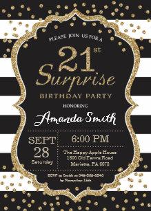 Surprise 21st Birthday Invitation Gold Glitter