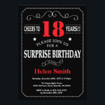 "Surprise 21st Birthday Invitation Red and Black<br><div class=""desc"">Surprise 18th Birthday Invitation Red and Black Typography. Chalkboard. Black and White Background. Adult Birthday. Male Men or Women Birthday. Kids Boy or Girl Lady Teen Teenage Bday Invite. 13th 15th 16th 18th 20th 21st 30th 40th 50th 60th 70th 80th 90th 100th. Any Age. For further customization, please click the...</div>"