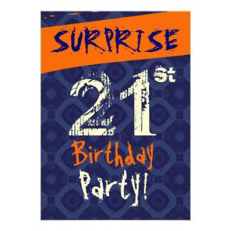SURPRISE 21st Birthday Midnight Blue Orange W513 Announcement