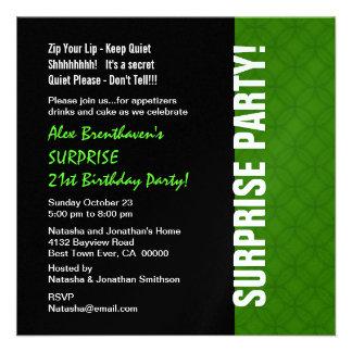 SURPRISE 21st Birthday Modern Bright Green W1865 Invitations