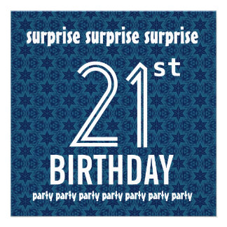 SURPRISE 21st Birthday Party Blue Stars W1889 Personalized Invite