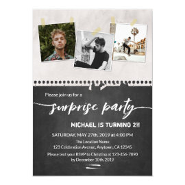 Surprise 21st birthday Party Chalkboard Photo Invitation