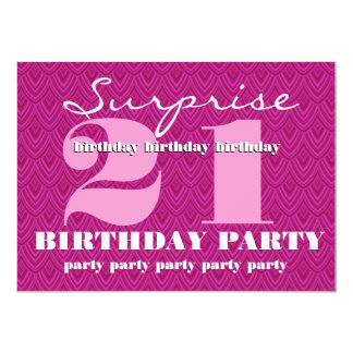 Surprise 21st Birthday Party Feathered Chevron Card