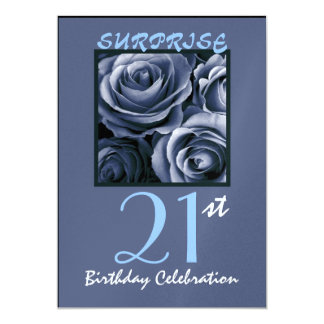 SURPRISE 21st Birthday Party Invite Blue Roses