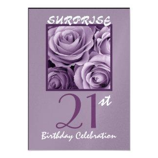 SURPRISE 21st Birthday Party Invite Purple Roses