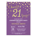 Surprise 21st Birthday Purple and Gold Diamond Invitation