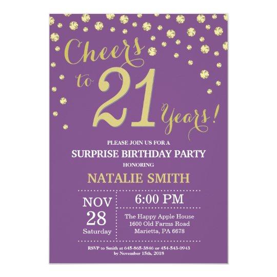 Surprise 21st Birthday Purple And Gold Diamond Invitation