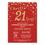 Surprise 21st Birthday Red and Gold Diamond Invitation