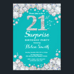 """Surprise 21st Birthday Teal and Silver Diamond Invitation<br><div class=""""desc"""">Surprise 21st Birthday Invitation. Teal and Silver Rhinestone Diamond Teal Turquoise Aqua Background. Elegant Birthday Bash invite. Adult Birthday. Women Birthday. Men Birthday. For further customization,  please click the """"Customize it"""" button and use our design tool to modify this template.</div>"""