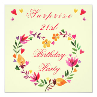 Surprise 21st Birthday Watercolor Floral Heart Card