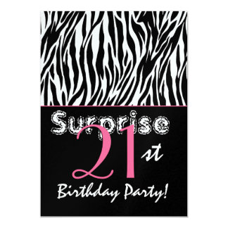 SURPRISE 21st Birthday Zebra Stripes Black White Card