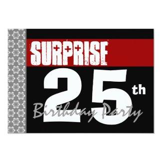 Surprise 25th Birthday Modern Black and Burgundy Card
