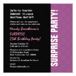 SURPRISE 25th Birthday Modern Lilac Pink W595 Personalized Invite