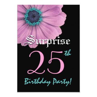 SURPRISE 25th Birthday Template Pink Daisy 5x7 Paper Invitation Card