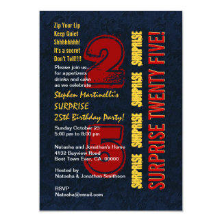 SURPRISE 25th Modern Birthday Red Gold Blue W542 5x7 Paper Invitation Card