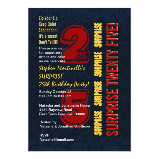 SURPRISE 25th Modern Birthday Red Gold Blue W542 Invitation