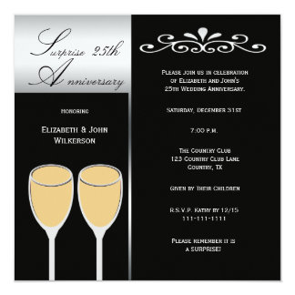Surprise 25th Wedding Anniversary Party Invitation