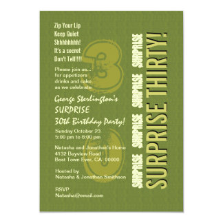 SURPRISE 30th Birthday Army and Olive Green V9 5x7 Paper Invitation Card