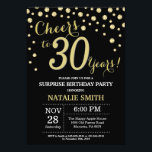 """Surprise 30th Birthday Black and Gold Diamond Invitation<br><div class=""""desc"""">Surprise 30th Birthday Invitation with Black and Gold Glitter Diamond Background. Gold Confetti. Adult Birthday. Male Men or Women Birthday. For further customization,  please click the """"Customize it"""" button and use our design tool to modify this template.</div>"""