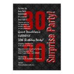 SURPRISE 30th Birthday Black White Red F001 Custom Invitations
