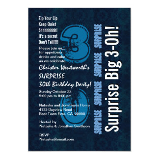 Surprise 30th Birthday Blue Vintage and White 106N 5x7 Paper Invitation Card