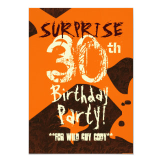 SURPRISE 30th Birthday Brown Ivory Orange C736 5x7 Paper Invitation Card