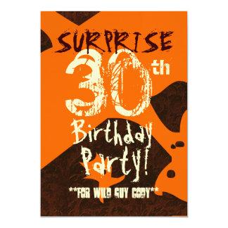 SURPRISE 30th Birthday Brown Ivory Orange C736 Invitations