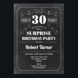 """Surprise 30th Birthday - Chalkboard Invitation<br><div class=""""desc"""">Surprise 30th Birthday Invitation Elegant retro chalkboard black and white design. Cheers to 30 years!</div>"""