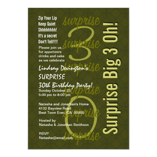 SURPRISE 30th Birthday Hues of Green W144 Card