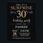 "Surprise 30th Birthday Invitation Black and Gold<br><div class=""desc"">Surprise 30th Birthday Invitation with Black and Gold Glitter Background. Chalkboard. Adult Birthday. Men or Women Bday Invite. Any age. For further customization,  please click the ""Customize it"" button and use our design tool to modify this template.</div>"