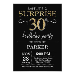 Surprise 30th Birthday Invitation Black And Gold