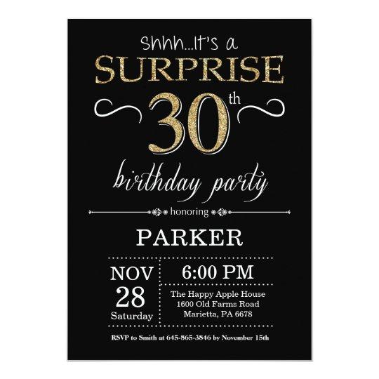 surprise 30th birthday invitation black and gold zazzle com