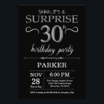 """Surprise 30th Birthday Invitation Black and Silver<br><div class=""""desc"""">Surprise 30th Birthday Invitation with Black and Silver Glitter Background. Chalkboard. Adult Birthday. Men or Women Bday Invite. Any age. For further customization,  please click the """"Customize it"""" button and use our design tool to modify this template.</div>"""