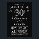 "Surprise 30th Birthday Invitation Black and Silver<br><div class=""desc"">Surprise 30th Birthday Invitation with Black and Silver Glitter Background. Chalkboard. Adult Birthday. Men or Women Bday Invite. Any age. For further customization,  please click the ""Customize it"" button and use our design tool to modify this template.</div>"