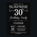 """Surprise 30th Birthday Invitation Black and White<br><div class=""""desc"""">Surprise 30th Birthday Invitation with Black and White Background. Chalkboard. Adult Birthday. Men or Women Bday Invite. Any age. For further customization,  please click the """"Customize it"""" button and use our design tool to modify this template.</div>"""