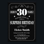 """Surprise 30th Birthday Invitation Chalkboard<br><div class=""""desc"""">Surprise 30th Birthday Invitation Chalkboard. Black and White Background. Adult Birthday. Male Men or Women Birthday. Kids Boy or Girl Lady Teen Teenage Bday Invite. 13th 15th 16th 18th 20th 21st 30th 40th 50th 60th 70th 80th 90th 100th. Any Age. For further customization, please click the """"Customize it"""" button and...</div>"""