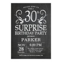 Surprise 30th Birthday Invitation Chalkboard