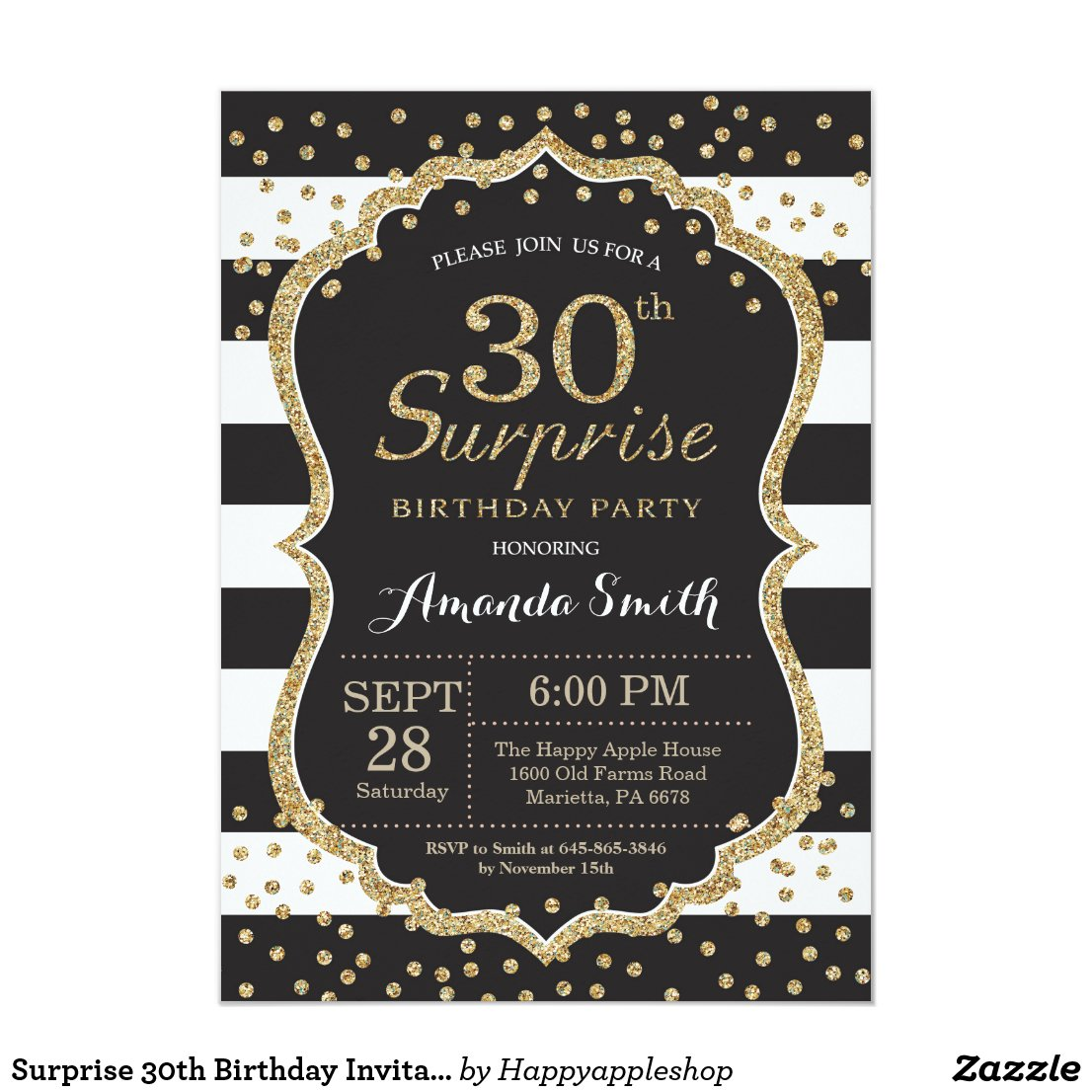 Surprise 30th Birthday Invitation. Gold Glitter Invitation