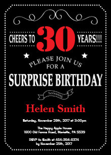 Surprise 30th Birthday Invitation Red And Black