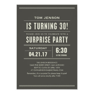 Surprise 30th birthday invitations announcements zazzle surprise 30th birthday invitations filmwisefo Images