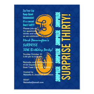 SURPRISE 30th Birthday Modern Blue and Gold F545 4.25x5.5 Paper Invitation Card