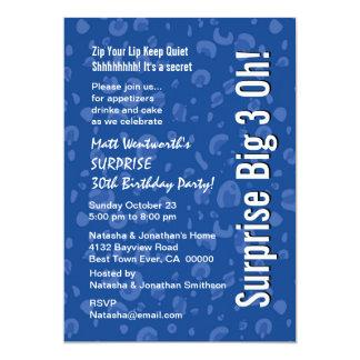 SURPRISE 30th Birthday Modern Blue White Confetti Card