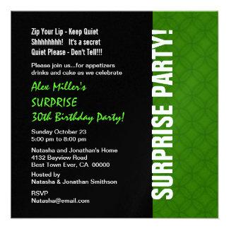 SURPRISE 30th Birthday Modern Bright Green W1866 Invitation