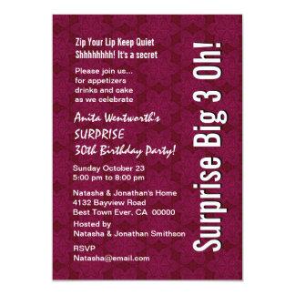 SURPRISE 30th Birthday Modern Burgundy Wine Stars Card