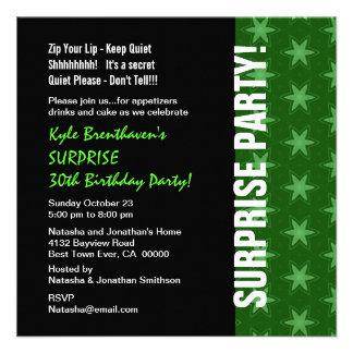 SURPRISE 30th Birthday Modern Green Stars W1681 Invites