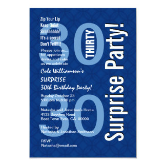 SURPRISE 30th Birthday Modern Royal Blue R600 Personalized Invites