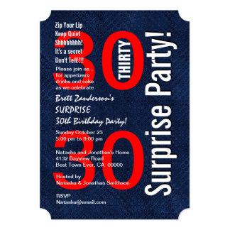SURPRISE 30th Birthday Modern Royal Blue R601A Card