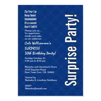 SURPRISE 30th Birthday Modern Royal Blue Ver 001 5x7 Paper Invitation Card
