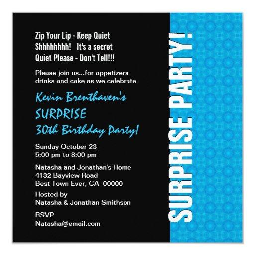 SURPRISE 30th Birthday Modern Turquoise Blue W1434 Custom Invitation
